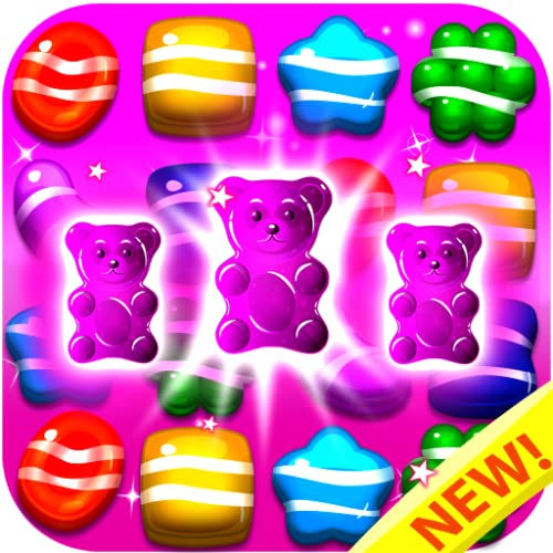Candy Gummy Bears 2018 - Match 3 Puzzle Games Free! Play the Legend of Yummy Candy Blast Mania (Top free match three games in Candy Land Board Game For Kindle Fire)