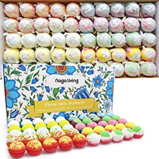 Organic Bath Bombs Gift Set, 50 Handmade Bulk Bath Bombs For Kids, Women, Men, Wonderful Fizz Effect Bath Gift For Valenti...