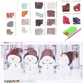 EXCEART 1 Pc DIY Snowman Zestaw Do Malowania Cartoon Boże Narodzenie Bałwan Koraliki Malowanie Materiał Zestaw Pełna Wiert...