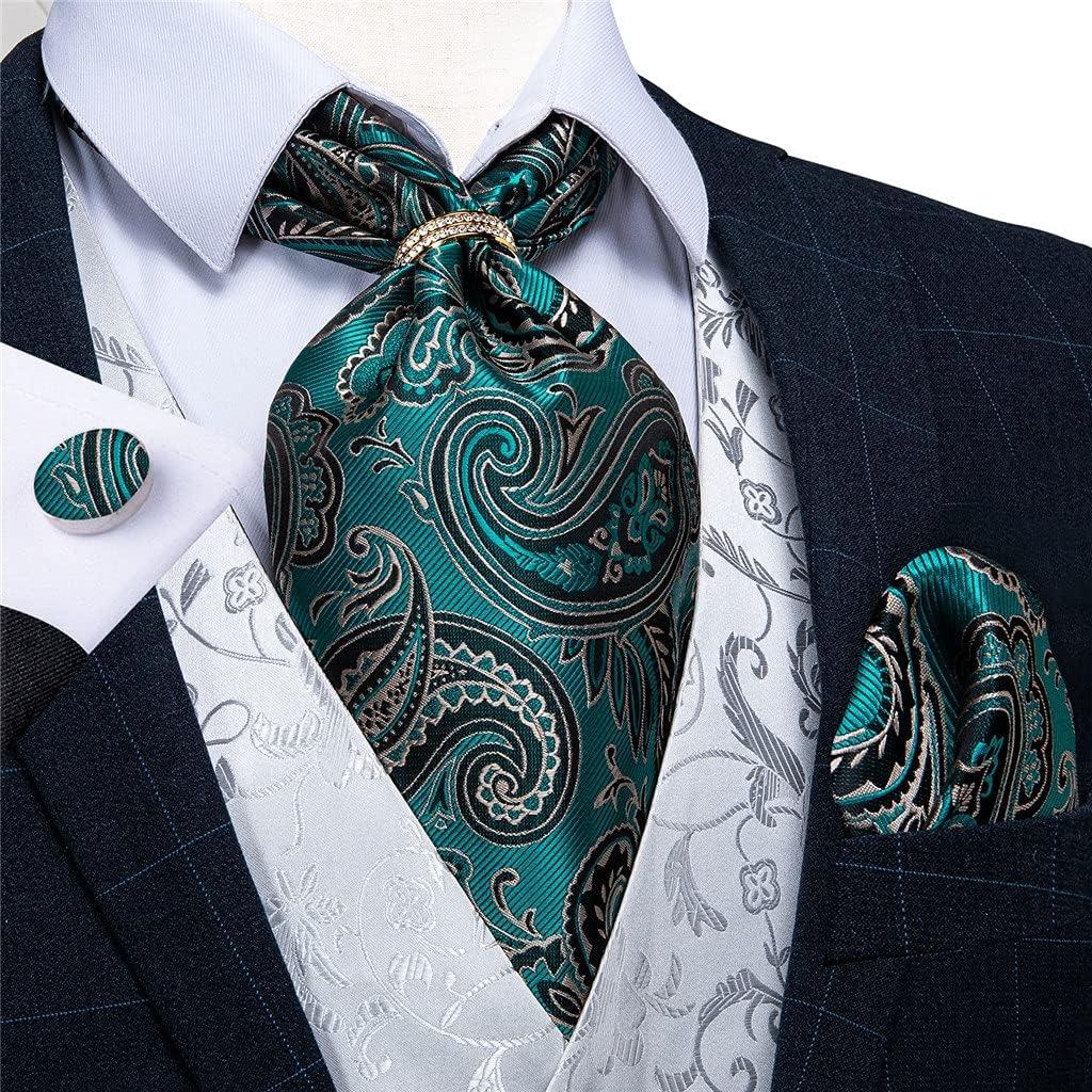 LQGSYT Men Silk Cravat Tie Handkerchief Set with Ring Floral Teal Blue Wedding Formal Self Necktie (Color : Gold Ring, Size : One Size)