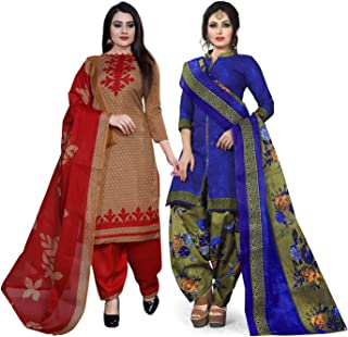 Rajnandini Women's Light Brown And Blue Cotton Printed Unstitched Salwar Suit Material (Combo Of 2) (Free Size)