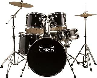 Union Black 5 Piece Rock/Jazz Drum Set w/ Hardware, Cymbals & Throne