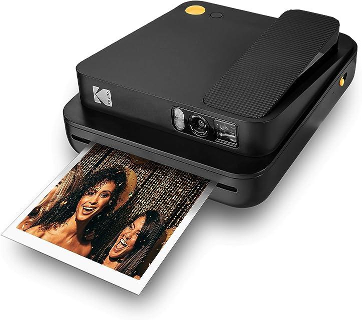KODAK SMILE Classic Cámara Instantánea Digital c/Bluetooth (Negro) 16MP 35 impresiones p/carga – Incluye papel ZINK 35 x 425 marcos con stickers
