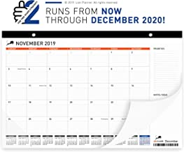 Desk Calendar 2019-2020 | Large Monthly Planning Desk Pad Calendar 17x11 | Best for Home, School and Office | Superior Ink Bleed Resistance Thick Paper | Runs from Now - December 2020