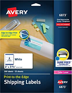 "Avery Shipping Labels with Sure Feed, Print-to-the-Edge, 2"" x 3-3/4"", 200 White Labels (6873) 2"" x 3-3/4"""