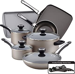 Farberware 21925 High Performance Nonstick Cookware Pots and Pans Set Dishwasher Safe, 17 Piece, Champagne