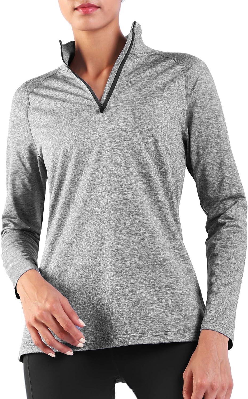 Ogeenier Herren Fleece Laufshirt Langarm mit Stehkragen Atmungsaktive Funktionsshirt Sportshirt Fitness Shirt