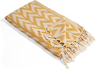 InfuseZen Peshtemal Towel with Woven Arrow Design - Thin & Absorbent Beach Bath Towels - 100% Cotton Oversized Turkish Tow...