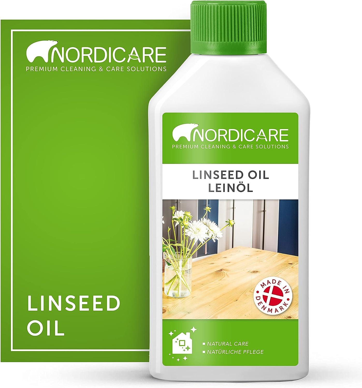 Nordicare Aceite de linaza [500ml] para la protección de la madera I Barniz de aceite de linaza para el interior I Aceite cocido de linaza para muebles, aceite de madera, aceite de lino