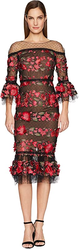 3/4 Length Bell Sleeve Fringe Floral Embroidered Cocktail with Point D'Esprit Ruffle Hem