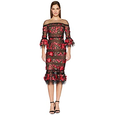 Marchesa Notte 3/4 Length Bell Sleeve Fringe Floral Embroidered Cocktail with Point D