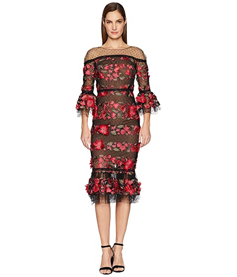 Marchesa 3/4 Length Bell Sleeve Fringe Floral Embroidered Cocktail with Point D'Esprit Ruffle Hem