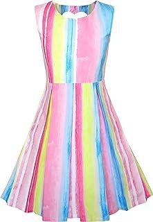 こどもドレス ハートプリント ストライプ - 形状 バック ブルー パーティー 105/110/115/125/130cm