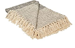 MOTINI 100% Cotton Decorative Throw Blanket with Tassel,Hand-Knitted Black and Cream Stripes Gradient Cozy Blanket for Cou...