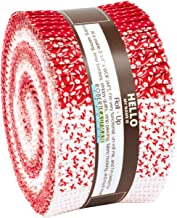 Darlene Zimmerman Southern Belles Redwork Roll Up 40 2.5-inch Strips Robert Kaufman RU-841-40
