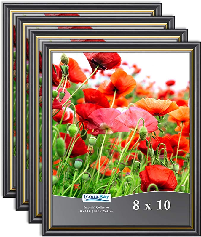 Icona Bay 8x10 Picture Frames Table And Wall D Cor Photo Frame Set Imperial Collection Black With Gold Trim 8 X 10 Inch 4 Pack
