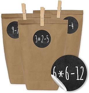 Kalendarz adwentowy do wypełnienia - 24 torebki na prezenty i 24 naklejki i spinacze z liczbami - motyw zadań arytmetyczny...