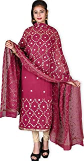 Kasturi-B Women's Wine Pure Crepe Georgette Gota-Patti 3 Pc Suit