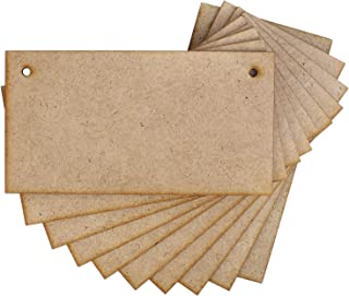 Creative Deco 10 x Carteles Madera Placa MDF Decorativa | 150 x 80 mm | con Agujeros para Colgar | Ideal para Decorar, Bar...