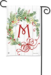 BreezeArt Studio M Winterberry Monogram M Garden Flag - Premium Quality, 12.5 x 18 Inches