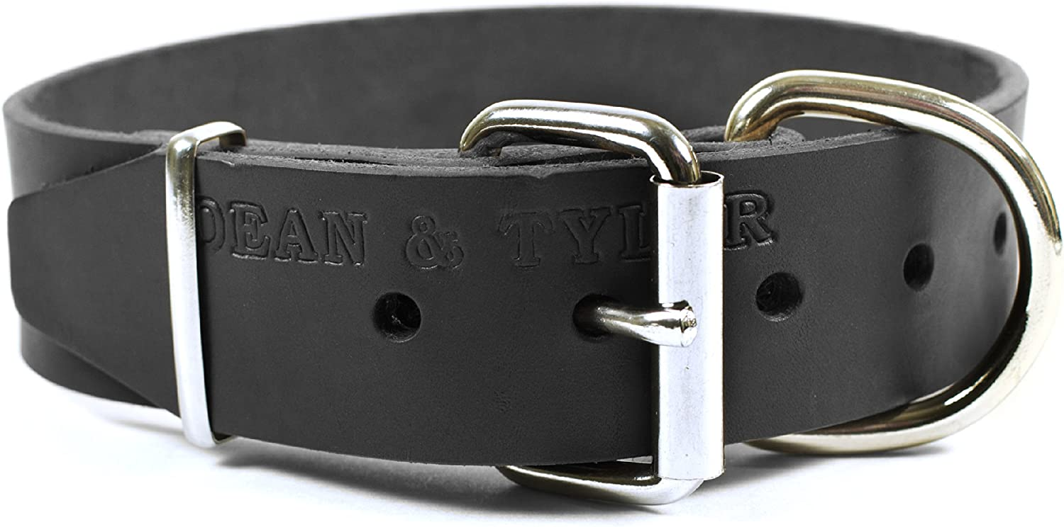 Dean & Tyler B and B  Basic Leather Dog Collar with Strong Nickel Hardware, Black, Size 26Inch by 2Inch Fits Neck 24Inch to 28Inch