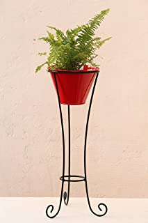 Green Gardenia Iron Pot Stand Large with Metal Pot (Red)