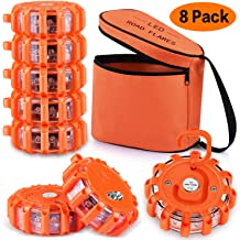 AK [8 Pack] LED Road Flares Safety Flashing Warning Light Roadside Emergency Disc Beacon Kit for Vehicles Boats with Magnetic Base & Hook, Premium Storage Bag (Batteries Not Included) (8)