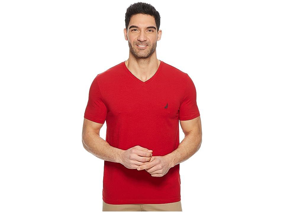 Nautica Short Sleeve V-Neck Tee (Nautica Red) Men