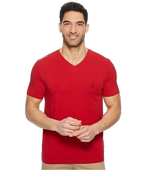 en manga Nautica Camiseta cuello Nautica roja con corta de v nZx5g50aq