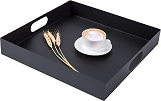 MyGift 16 inch Square Metal Breakfast Serving Tray with Oval Cutout Handles, Matte Black