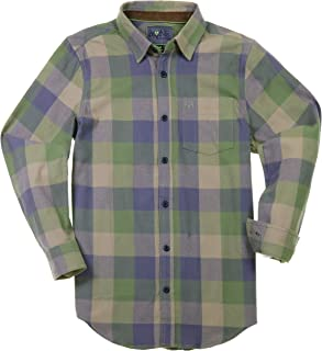 Bone Collector Men's Plaid Flannel Shirt - Long Sleeve Casual Button Up - Relaxed fit, Suede Collar, Less Shrinking