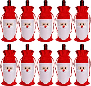 D-Fokes 10PC Santa Claus Christmas Drawstring Red Wine Bottle Cover Bags Dinner Party Table Decor Xmas Gift (Red Wine Bag 10 pcs)