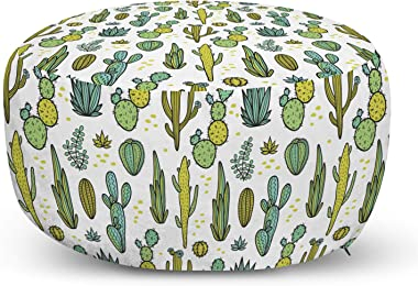 Ambesonne Cactus Ottoman Pouf, Hand Draw Foliage Pattern Botanical Inspired Floral Tropical Elements, Decorative Soft Foot Re