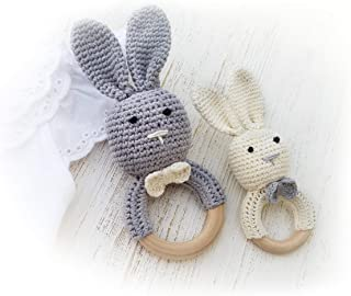 Natural Wooden Baby Toys Cotton Crochet Bunny Teething Ring Teether Rattle Set of 2 Newborn Unisex (Grey Mama White Baby)