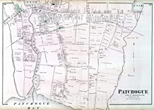 Historic Map - 1873 Patchogue, in Brookhaven. Long Island. - Vintage Wall Art - 44in x 32in
