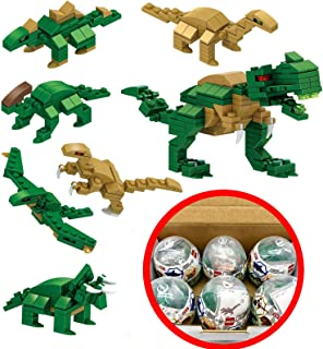GIFTEXPRESS Toy Filled Easter Eggs Surprise Eggs with Building Blocks DIY 6 Styles Building Blocks Toys For Party Favors School (Dinosaur)