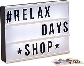 Relaxdays Light Box, lichtbox set met 85 tekens, letters, led-lichtschild, HxBxD: 22 x 30 x 4,3 cm, wit/zwart