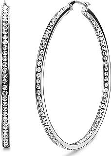 Stainless Steel Women Hoop Earrings Cute Huggie Earrings Cubic Zirconia Inlaid 50MM