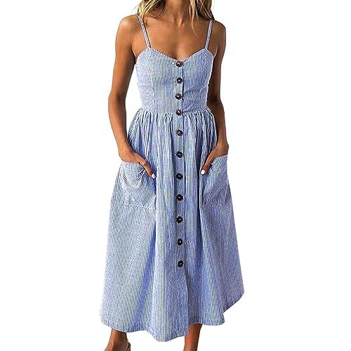 8974fcc4dd88 Angashion Women's Dresses-Summer Floral Bohemian Spaghetti Strap Button Down  Swing Midi Dress with Pockets