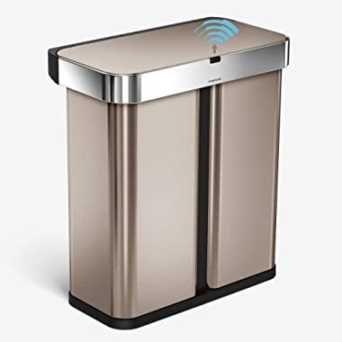 simplehuman 58 Liter / 15.3 Gallon Dual Compartment Rectangular Hands-Free Kitchen Recycling Trash Can with Voice and Motion Sensor, Rose Gold Stainless Steel