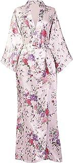 Kimono de Seda Vestido de Satén Kimono Pavo Real Novia Pijamas de Seda Bata de Satén 135 cm