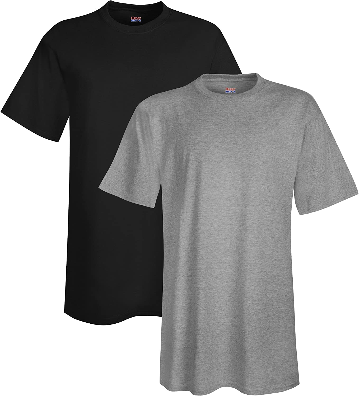 Hanes Men's Tall Short Sleeve Beefy-T (Pack of 2), 4XLT, 1 Black / 1 Light Steel
