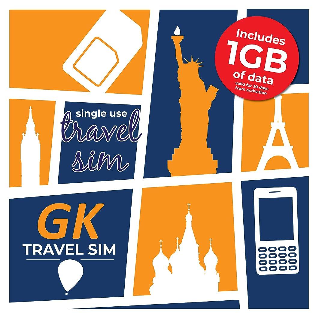 威する踏みつけ倍増GK Travel 1GB SIMプリペイドローミングデータSIMカード(1GB)