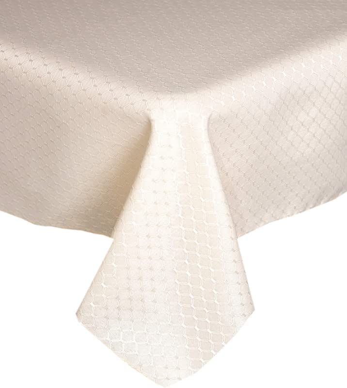 Lintex Chelton Beehive Weave Jacquard Fabric Tablecloth Easy Care Stain Resistant And Water Repellent Indoor And Outdoor Solid Color Tablecloth 70 Inch Round Ivory