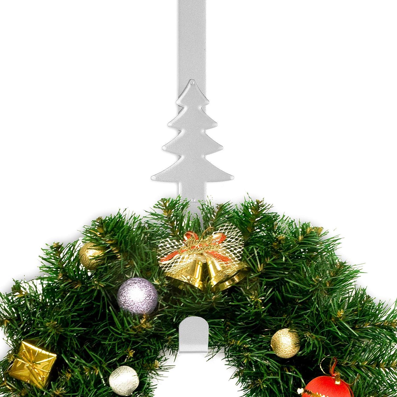 Silver 15in Whaline Christmas Wreath Hanger Over the Door Metal Wreath Hook Christmas Tree Decor Hook for Xmas Party Door Wall Home Office