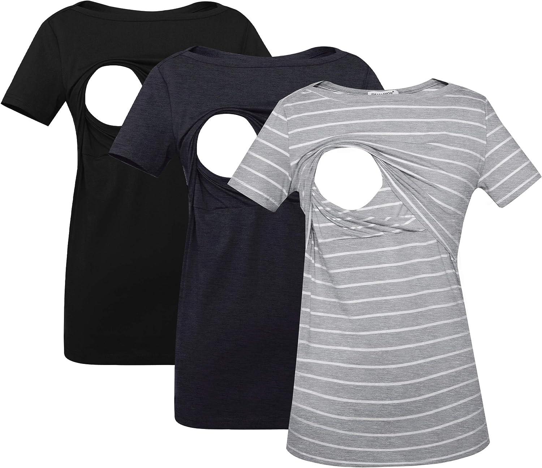 Smallshow Women's Nursing Now on Daily bargain sale sale Top Short Sleeve Breastfeeding Striped
