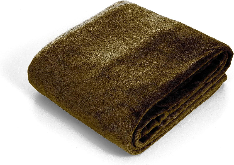 Bedford Home Super Soft Flannel Blanket, King, Brown