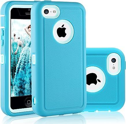 iPhone 5°C 手机壳 fogeek 双层防滑360全包保护套 PC 和 TPU 防震 lightly 防水防护仅 Apple iphone 5°C 仅 浅蓝