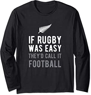 Funny Rugby New Zealand NZ Silver Fern Football Gift Long Sleeve T-Shirt