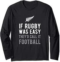 Funny New Zealand Rugby NZ Silver Fern Football Long Sleeve T-Shirt